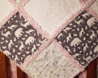Pink and grey deer bear woodland themed baby girl rag quilt
