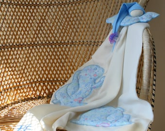 "Rabbit-Pixie-cover ""cloud"" blanket, blanket, pacifier and pixie, ivory and blue"