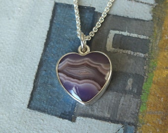 Purple Heart Laguna Agate Sterling Silver Pendant Necklace Handmade Metalsmith James Blanchard