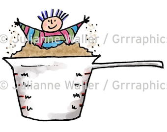 People with Food: Playing in measuring cup digital printable clipart