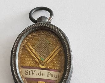 antique french St Vincent de Paul silver reliquary medal, reliquary locket