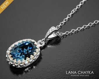 Denim Blue Oval Necklace, Swarovski Denim Blue Crystal Necklace, Blue Silver Wedding Necklace Bridal Bridesmaid Necklace Mother of The Bride