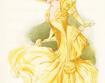 Vintage Lady in Yellow by Maud Stumm New York Show Girl Hippodrome Printable Art Digital Download JPG Imag