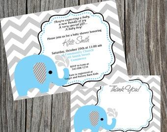 Blue Elephant Invitation Baby Shower Invitation Elephant Invitation Elephant Baby Shower Elephant Birthday Invitation Elephant Invite