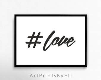 Hashtag Love Landscape Print Instant Download Printable Quote Poster Horizontal Wall Art Teen Room Decor Cool Gift For Teen Girl Sweet 16