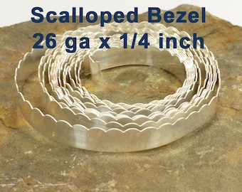 "26ga x 1/4"" Scalloped Bezel Wire - Fine Silver - Choose Your Length"