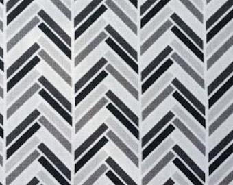 Fabric Remnant. Black & Gray Chevron. Chevron Fabric. Modern Fabric. Designer Fabric. Quilting Fabric. Quilting Scraps. 23'' x 17 1/2''