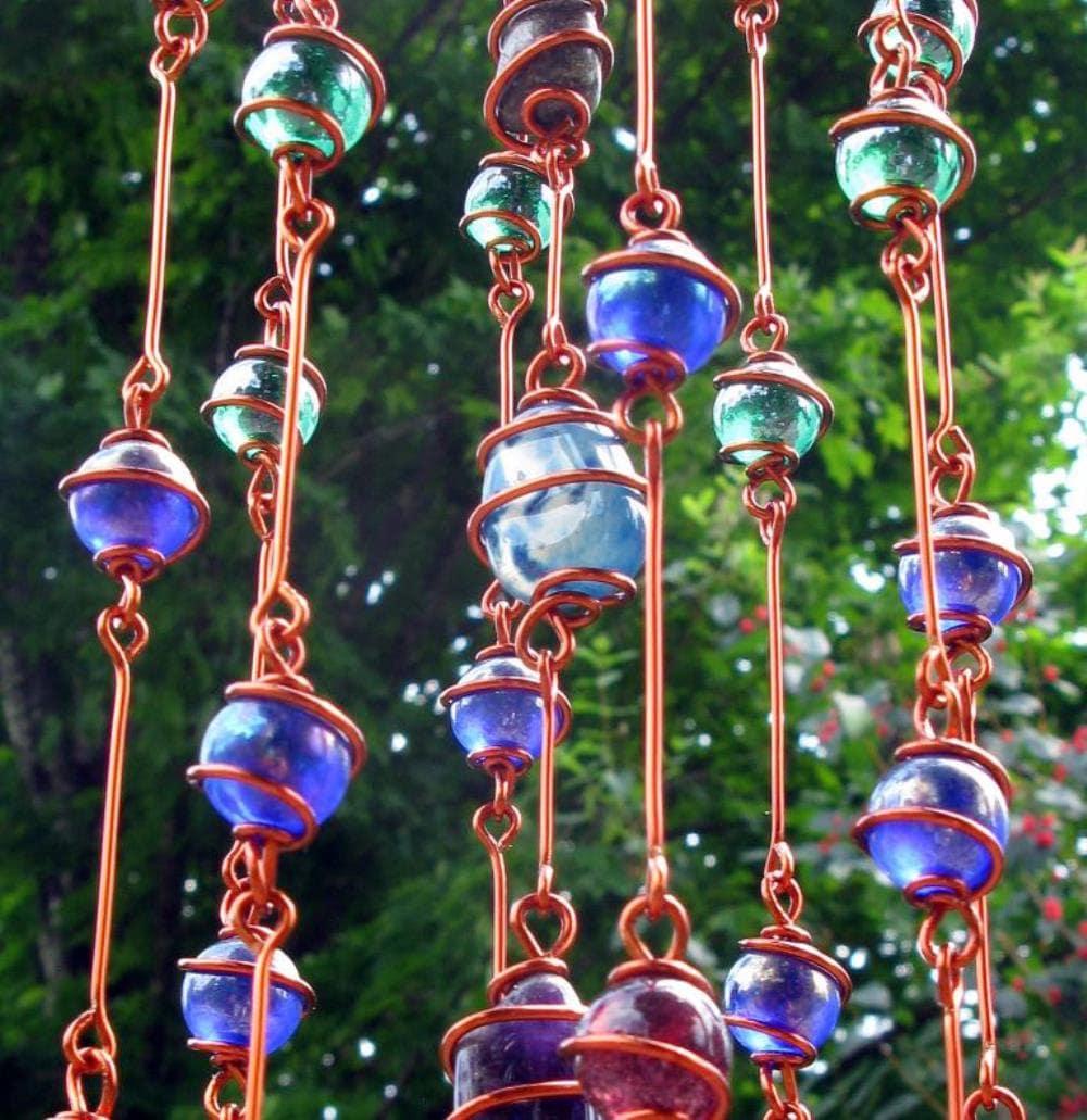 Rainbow Chakra Suncatcher with Copper Wire Wrapped Glass