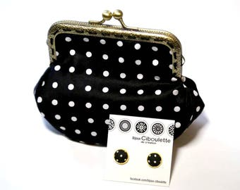 Gift set - black, white and gold BIJOUX CIBOULETTE earrings - black LOLI wallet with white dots