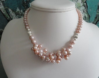 Mauve pink Pearl necklace and earring set  -   #441