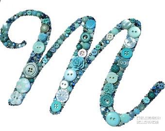 5x7 Button Monogram Nursery Letter Wall Art Monogram Button Initial Swarovski Crystals Nursery Decor Monogram Wedding Gift Baby Shower