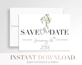 Printable Wedding Save the Date // Greenery // Laurels Save the Date // Digital Wedding Stationery // Templett