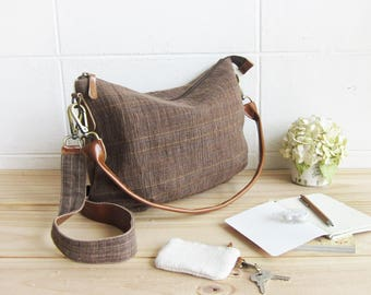 Cross-body Sweet Journey Bags M size Hand Woven and Botanical Dyed Cotton Brown-Blue Color