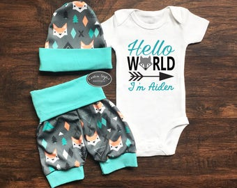 Baby Boy Coming Home Outfit, Hello World, Custom Name, Teal And Gray Fox Print Shorts & Hat, Baby Boy Shorts, Hosptial Outfit, Summer Outfit