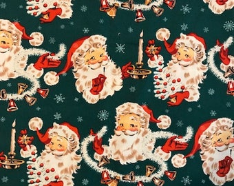 Jingle Bell Santa Vintage Retro Fabric from The Alexander Henry Fabrics Collection 2004 (2.6 yards)