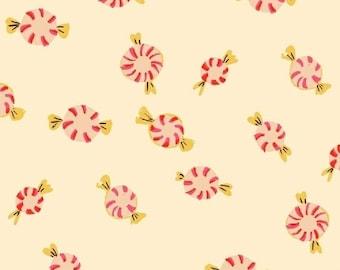 Sugarplum by Heather Ross for Windham Fabrics - Peppermints - Cream - 50167-2 - Fat Quarter - FQ - Cotton Quilt Fabric