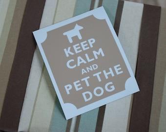 Keep calm pet the dog fridge magnet