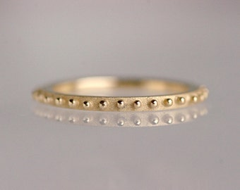 Dotted stacking ring, minimal ring, sparkling side band, contour band, delicate gold ring, stackable ring, granulation, 14k yellow gold