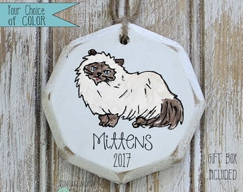 personalized Himalayan cat ornament, pet ornament, cat ornament, pet loss, pet memorial, gift for cat, fur baby, Christmas ornament
