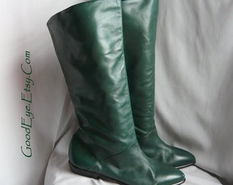 Vintage Flat Pixie Slouch Boots Leather / size 8 m Eur 38 .5 UK 5 .5  / OLIVE GREEN Cuff Slouchy Knee 90s Brazil