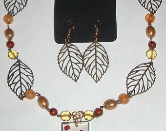 Autumn Leaves Necklace and Earrings