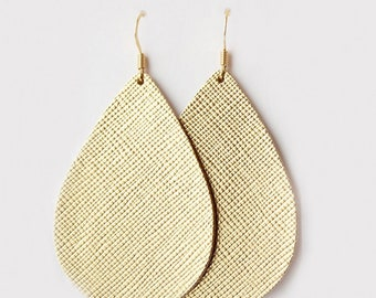 Gold Leather Earrings, Genuine Leather, Leather Teardrop, Trendy Earrings, Lightweight Earrings- GOLD METALLIC