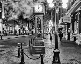 Vancouver Steam Clock British Columbia Canada Gastown night photography fine art print Black and White