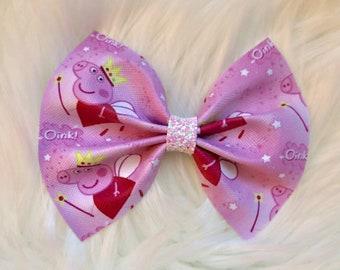 Peppa Pig Bow, Peppa Pig Hair Bow, Peppa Pig Bows, Disney Inspired Bows, Disney Bows