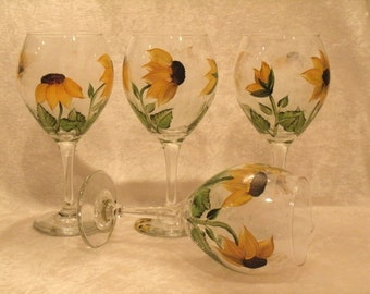 SUNFLOWER WINE GOBLETS, set of four