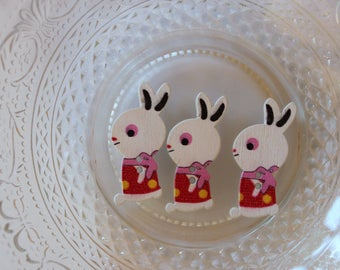 button wood red rabbit