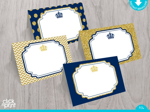 Prince Baby Shower or Birthday Navy Blue Gold Glitter Print