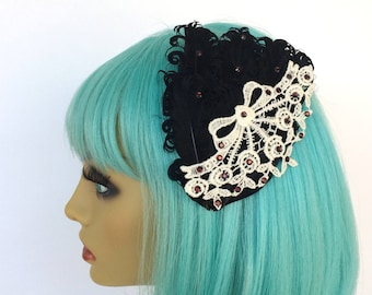 Black Feather Fascinator, Ivory Lace Fascinator, Victorian Hair Clip, OOAK Fascinator, Black Nagorie Feather Clip