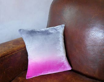 "Deep pink and grey velvet pillow/cushion cover, hand-painted 14"" (35cm) square, Ready to ship, UK, other sizes made to order"