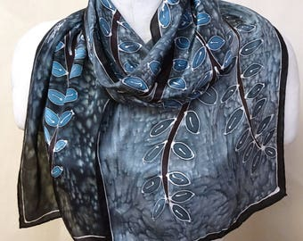 Slate Blue Tree - Hand Painted Silk Scarf - wearable art - medium scarf 11x60 inches