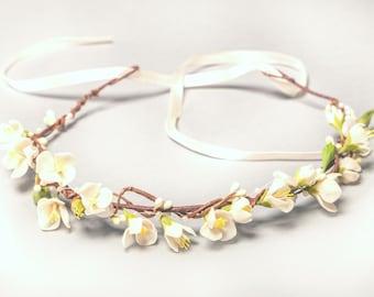 apple blossoms headband, flower wreath, flower crown, bridesmaids crown, bride crown, rusric crown, bridal wreath, white wreath, custom