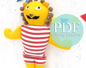 Stuffed toy circus lion sewing pattern PDF- Lion sewing pattern & tutorial - Make your own stromgman lion doll - DIY lion toy Circus nursery