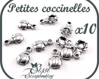 LOT 10 CHARMS silver Ladybug charm SCRAPBOOKING 7 x 6 x 2.1 mm