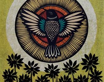 Sunbird - 11 x 14 inch Cut Paper Art Print