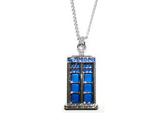 Doctor Who Tardis Charm Silver Plated Pendant Necklace with Lobster Clasp & Chain