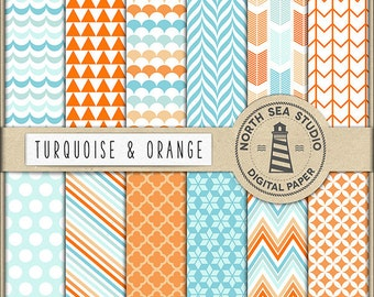 BUY5FOR8 Turquoise And Orange Digital Paper Turquoise Pattern Orange Backgrounds Digital Scrapbooking 12 JPG 300 DPI Files Download