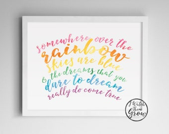 "Pastel Rainbow Printable, ""Somewhere Over the Rainbow"" Wall Art, Watercolor Wizard of Oz Quote, Kids Wall Art 8x10 & 11x14 INSTANT DOWNLOAD"