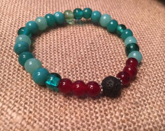 Teal and Red Essential oil stretch bracelet