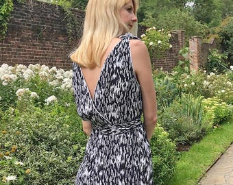 Marlene Vintage Style Tie Shoulder Elegant Jumpsuit for Wedding. Womens Formal One Piece Wedding Guest Outfit in Stylish Monochrome Print
