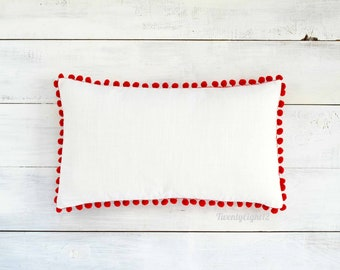 "Pom Pom Lumbar Pillow Cover - Linen Look -  12"" x 20"" - Holiday, Decorative Pillow, Red Pom Pillow, White Pillow"