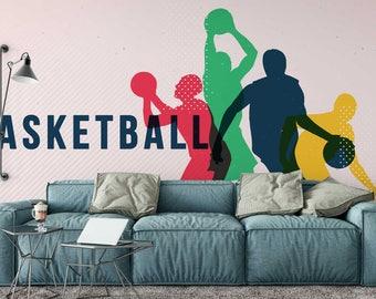 Basketball Wall Mural, basketball decal, wall decor, wall decals, wall mural, nursery wall decals, vinyl wall decal, basketball wall decor