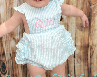 Monogrammed baby girl ruffle bubble, Seersucker girls bubble monogrammed, seersucker summer romper, girls seersucker Beach Outfit