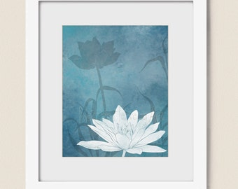 8 x 10 Baby Blue Wall Art for Home or Office, Lotus flower Bedroom or Living Room Decor, Nature Wall Art Print (329)