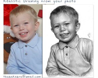 CUSTOM PENCIL PORTRAIT from Photo, Hyperrealistic Customized Pencil Portrait of Children, Personalized Child Drawing in Black and White