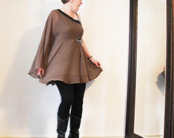 upcycled top - M - upcycled clothing, upcycled fashion, one shoulder tunic . after dark
