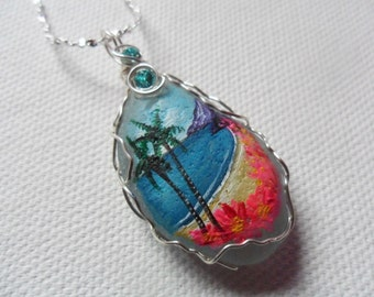 """Hawaii inspired hand painted sea glass necklace - Silver plated 18"""" chain swarovski crystals and wire wrapping"""